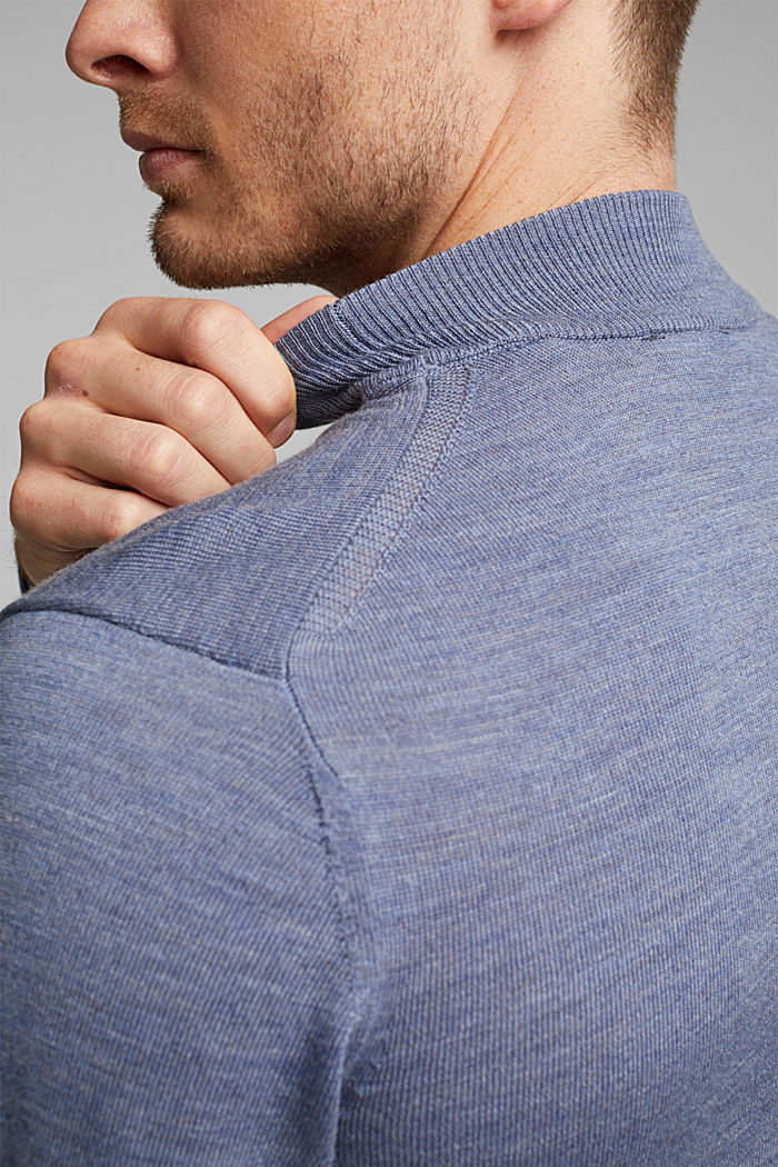 100% wool jumper with a stand-up collar, BLUE LAVENDER, detail image number 2