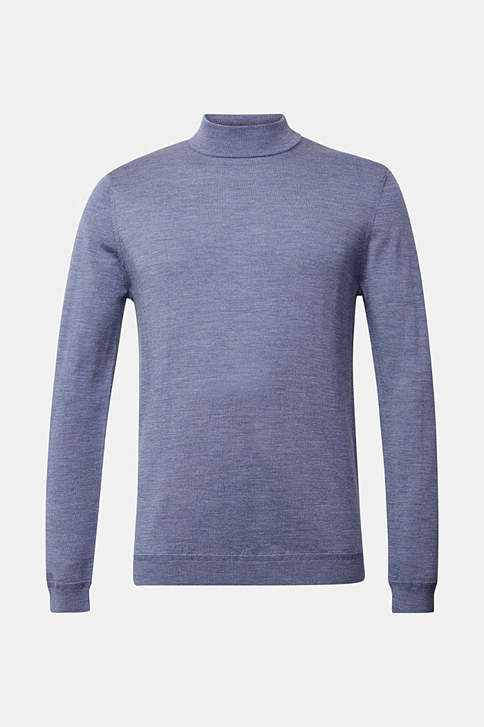 100% wool jumper with a stand-up collar, BLUE LAVENDER, detail image number 7