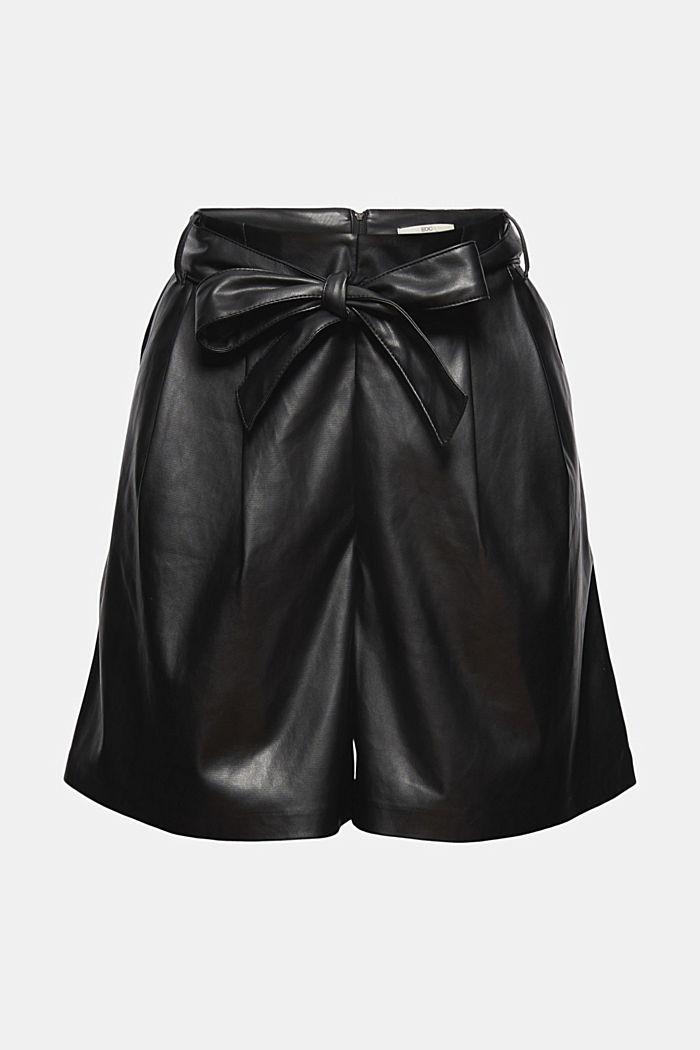 Shorts con cintura da annodare in similpelle