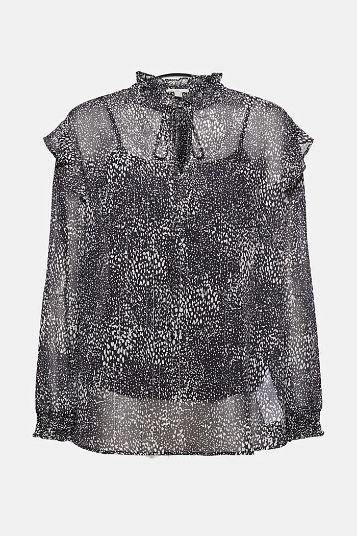 Chiffon blouse met print en volants