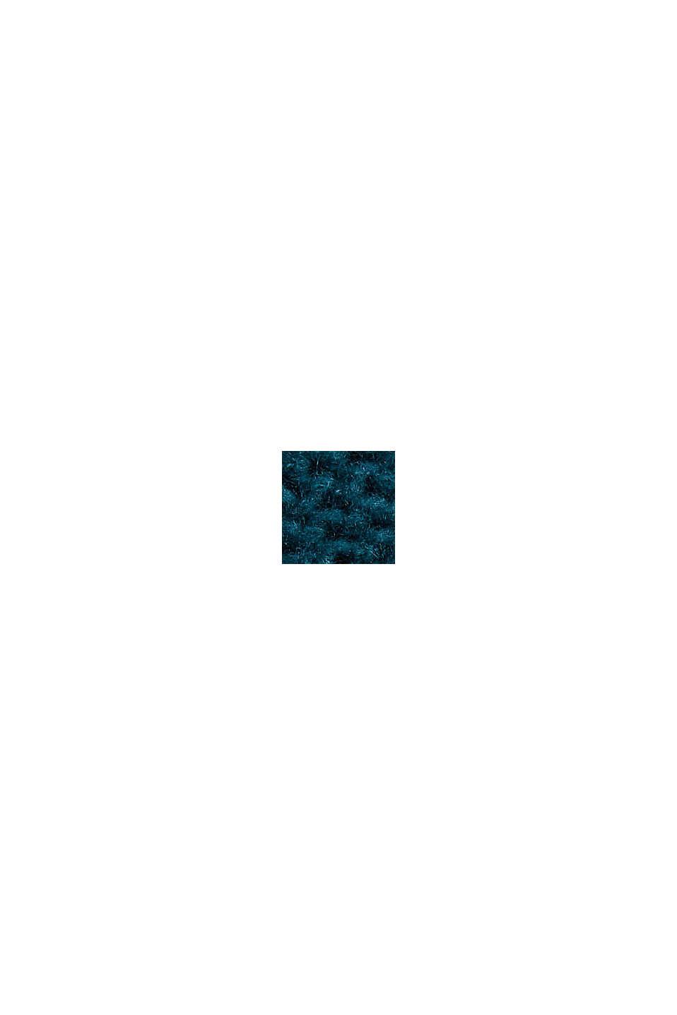 Mit Wolle: Pullover mit Zopfstrickmuster, EMERALD GREEN, swatch