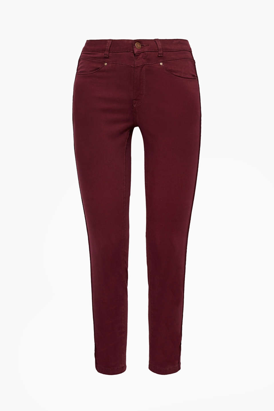 These cropped trousers in stretchy blended cotton have a peachy soft texture and velvet accents.
