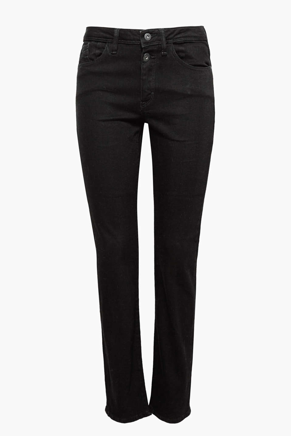 Perfect for any situation: Straight five-pocket jeans made of black cotton denim with added stretch for comfort.