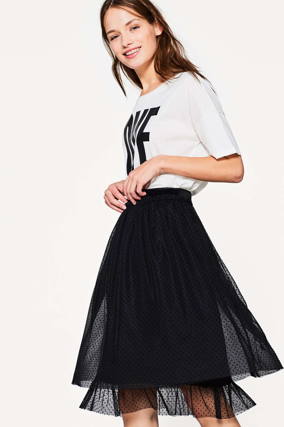 edc - Tulle skirt with a polka dot pattern