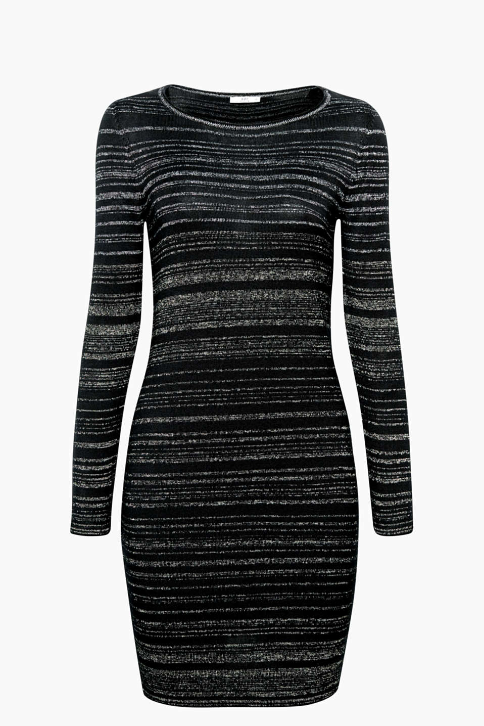 The shimmering lurex stripes give this figure-hugging knitted dress a festive and glamorous update.