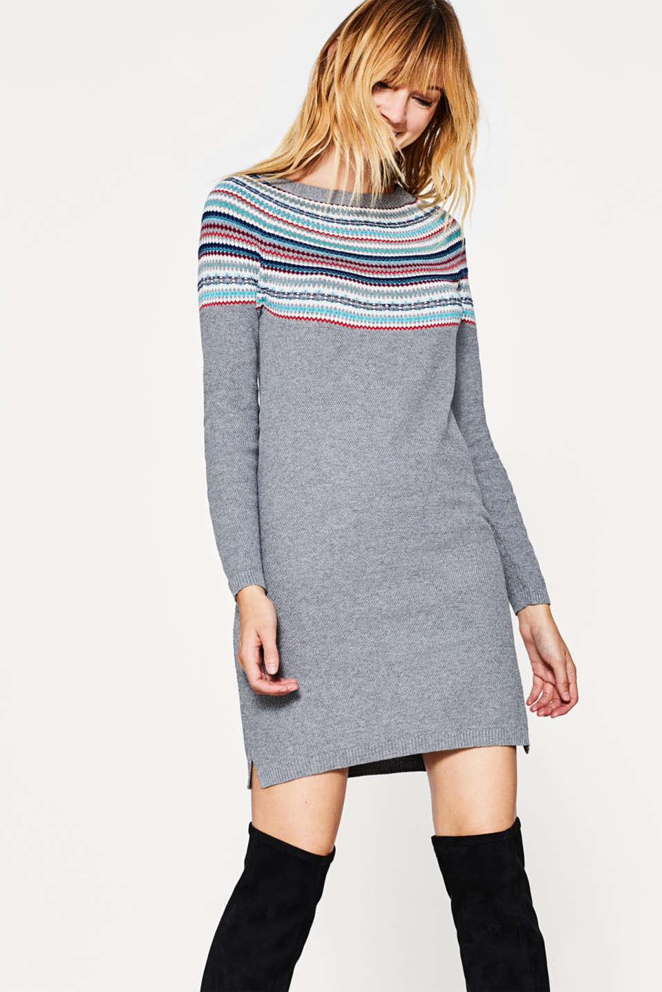 edc - Knitted jacquard dress in cotton