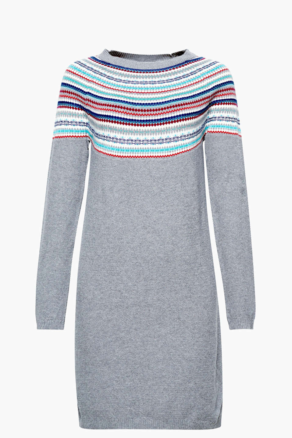 This finely textured knitted dress boasts a colourful intarsia pattern and pure cotton that is comfortable to wear.