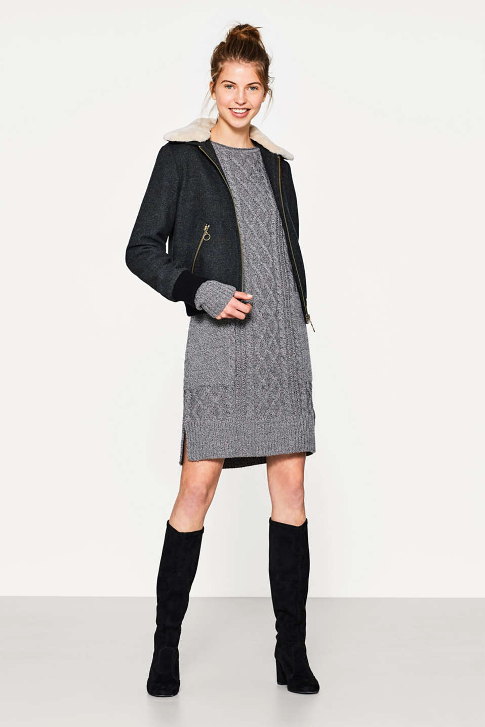 Cable knit dress with wool