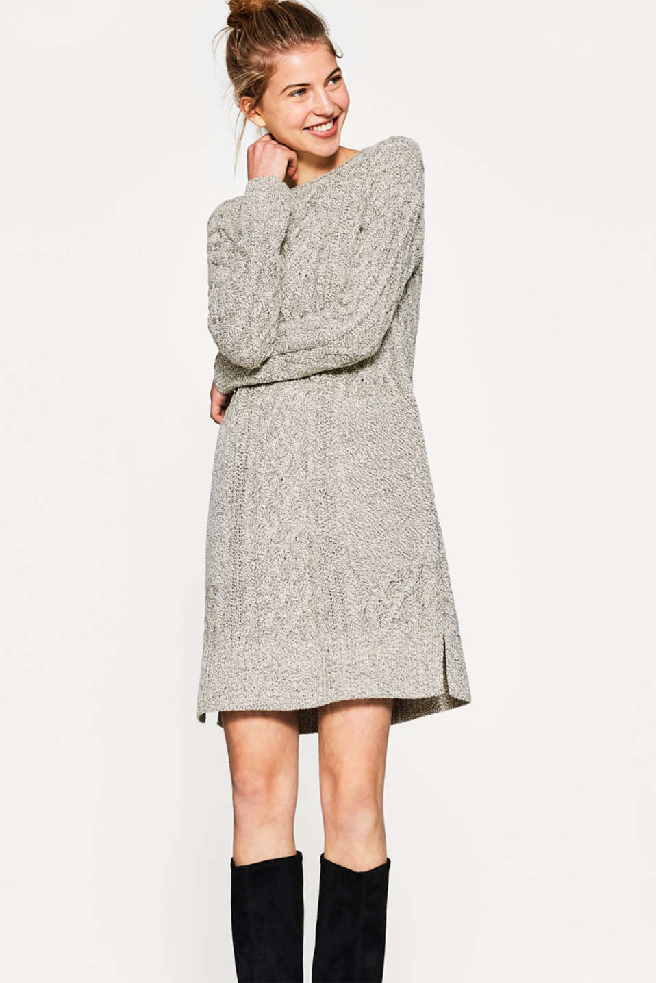 edc - Cable knit dress with wool