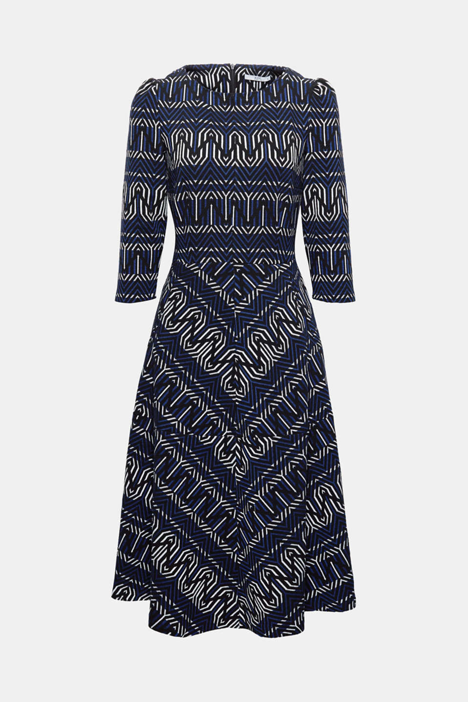 Fashion piece: this dress in a contemporary midi-length is an eye-catcher with its graphic jacquard pattern!