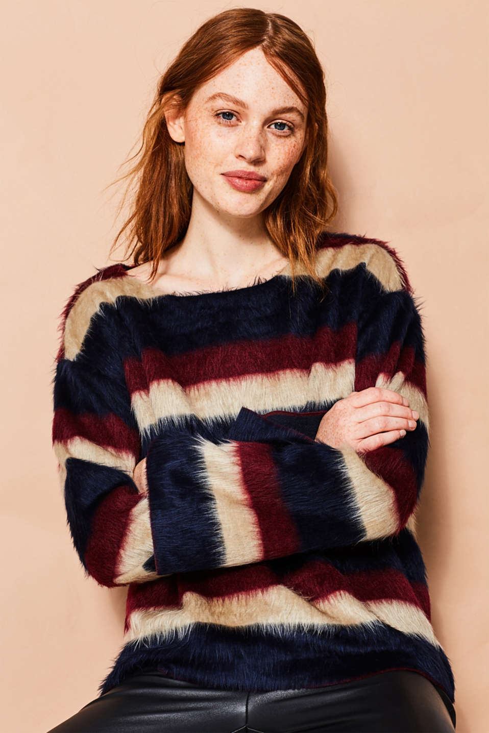 edc - Fluffy sweatshirt with block stripes