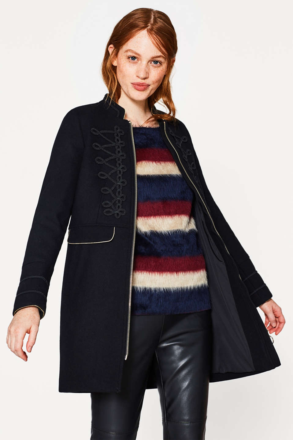 Fluffy sweatshirt with block stripes