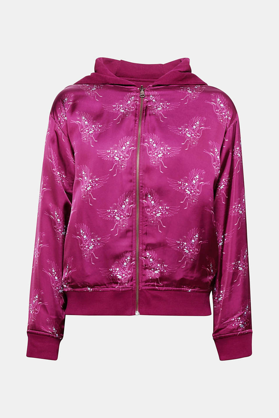 This bomber jacket made of shimmering satin with an all-over print will give your look a feminine, sporty twist.
