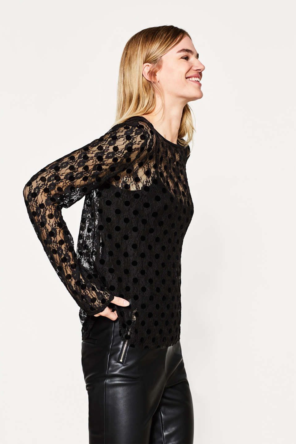 edc - 2-in-1 lace blouse with flock print