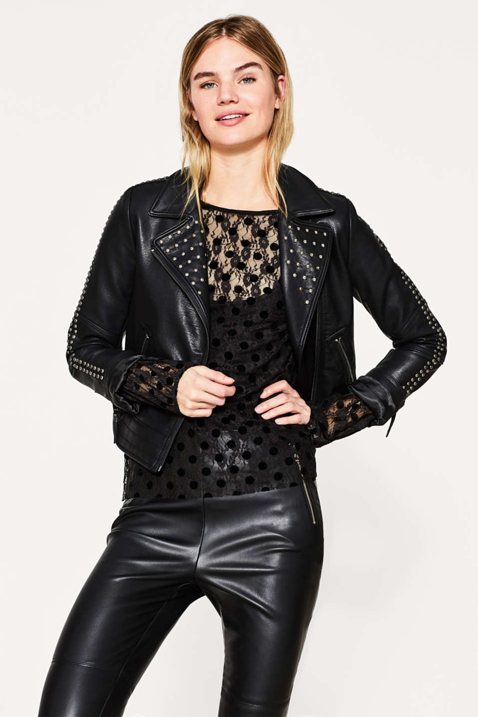 2-in-1 lace blouse with flock print