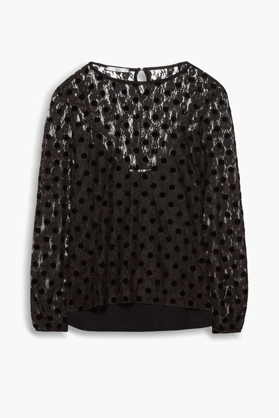 Delicate lace and a velvety polka dot print turn this long sleeve blouse with an integrated top into a party style!