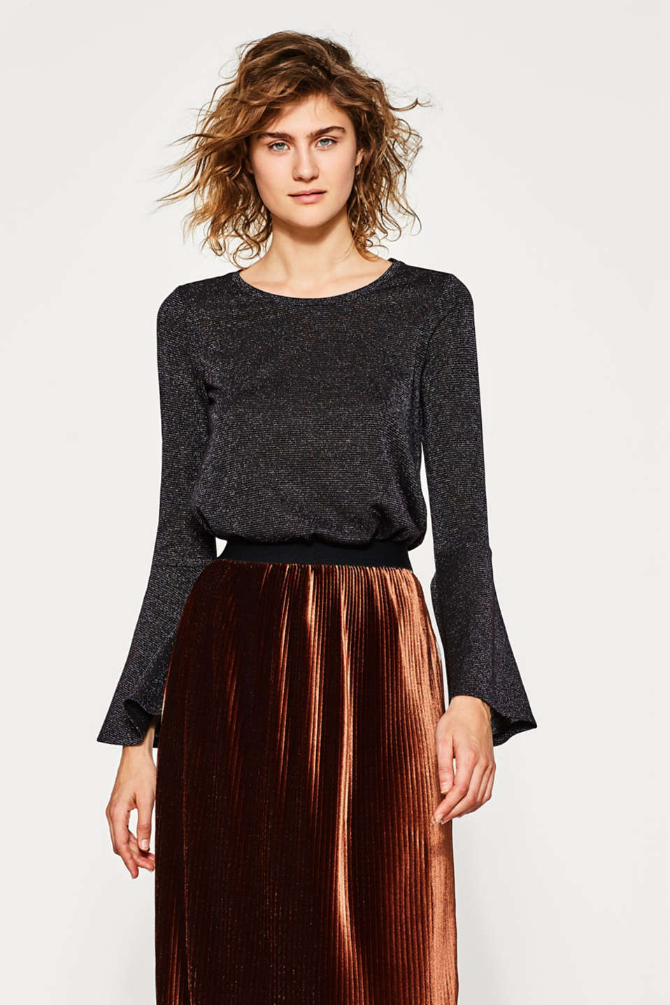 edc - Glittering tee with trendy sleeves