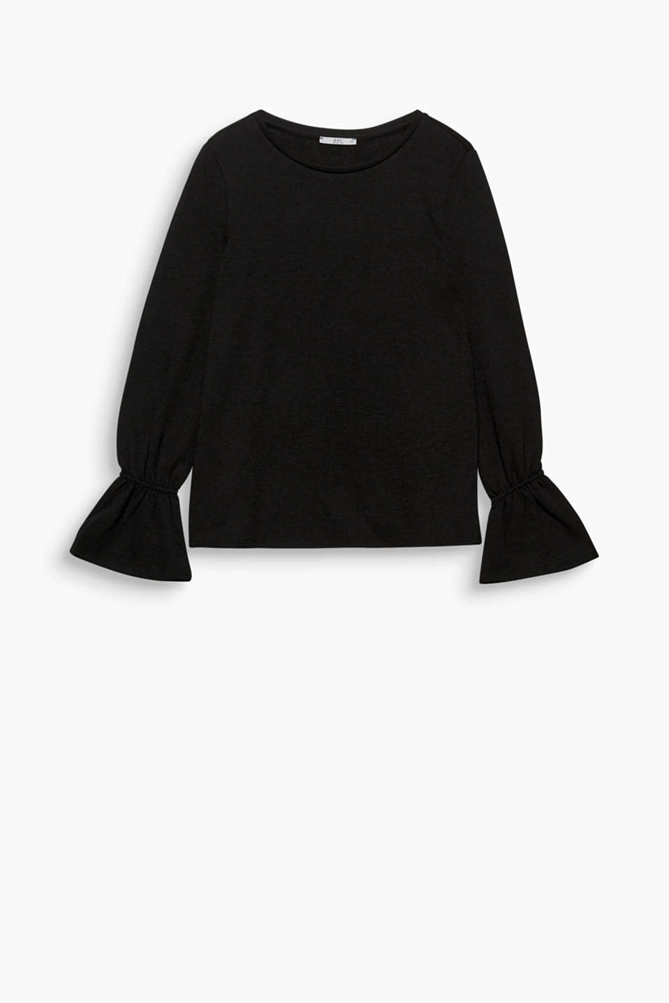 This soft sweatshirt gets a highly fashionable and feminine note from the flared sleeve hems.