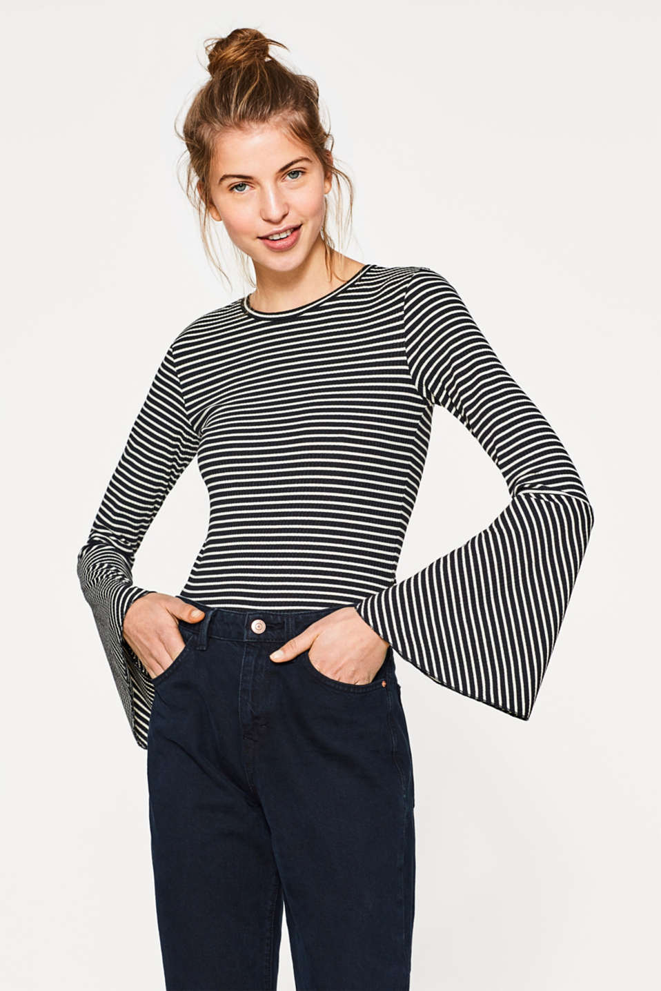 edc - Rib knit top with trumpet sleeves