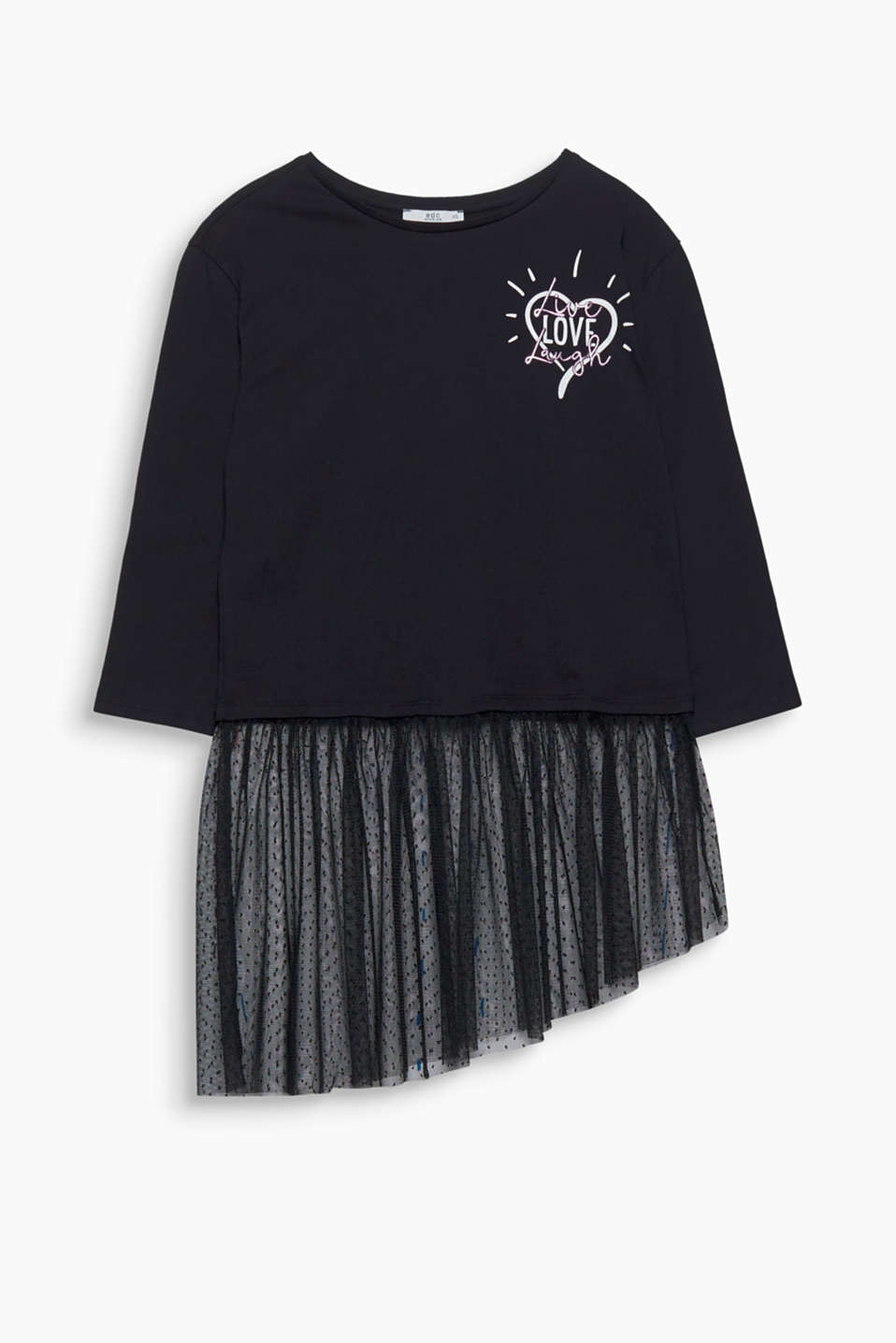 A material mix with jersey and tulle gives this top its fashionable look.
