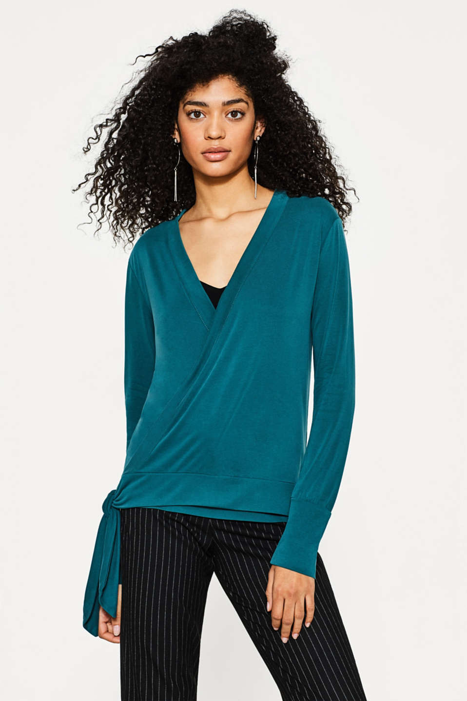 edc - Flowing wrap-over long sleeve top