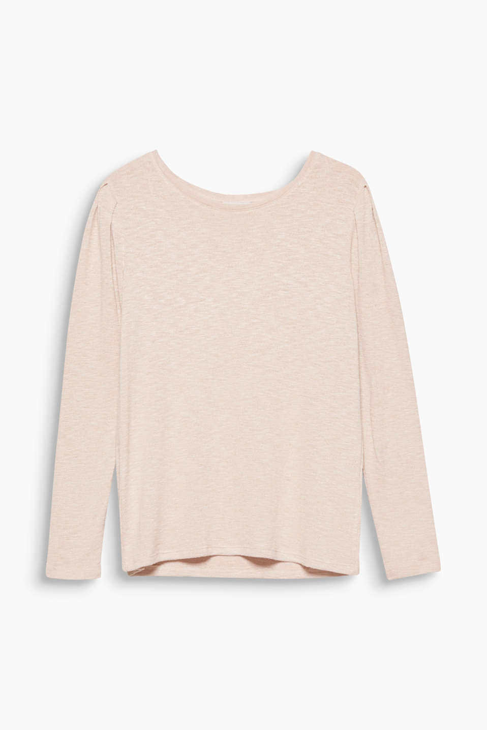 Gathered seams on the shoulders give this long sleeve top its feminine look in soft, textured jersey.