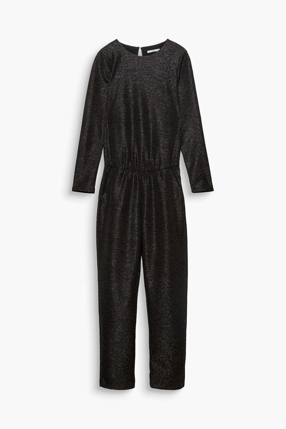 This jumpsuit is perfect for creating festive looks with its sparkling shimmer and low back neckline.