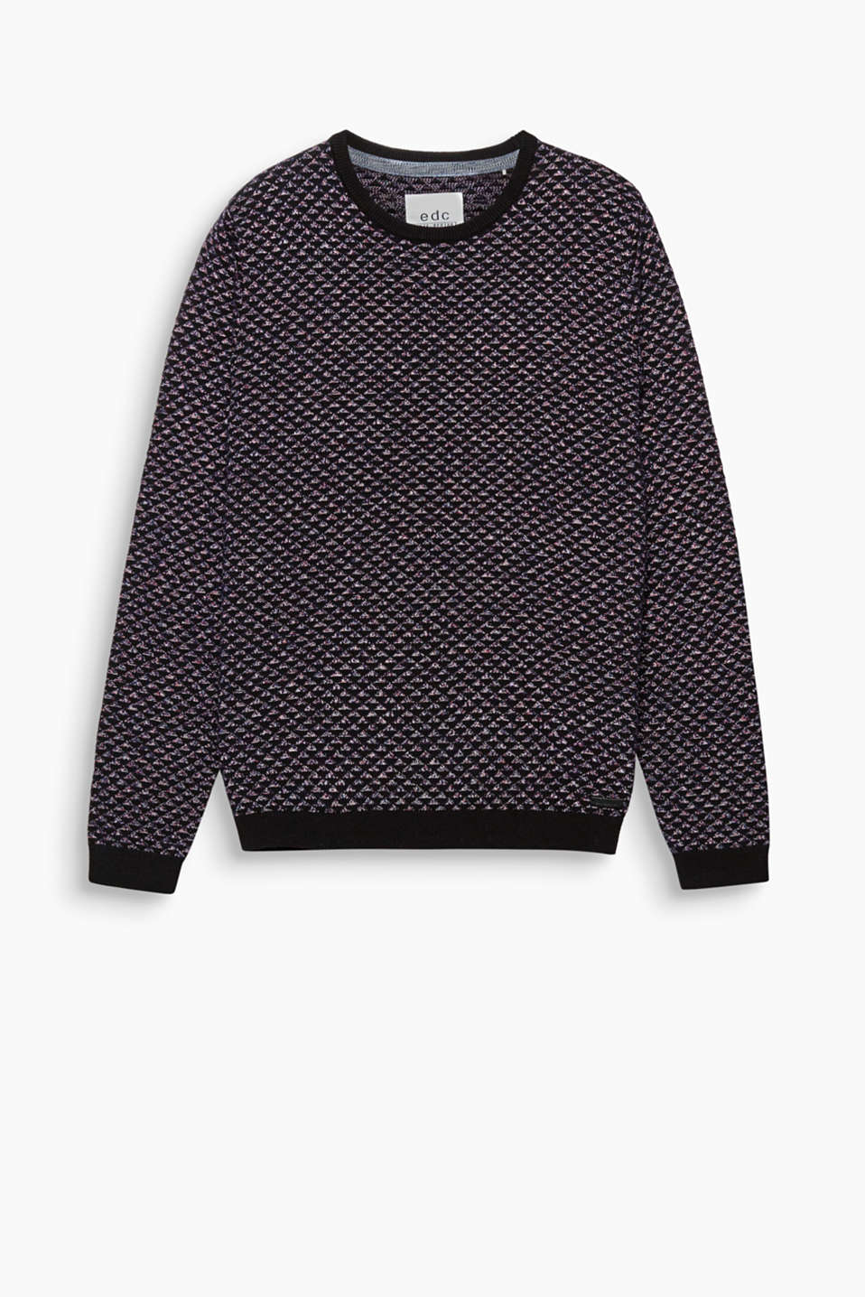 An intriguing intarsia pattern makes this fine knit jumper a head-turning piece.