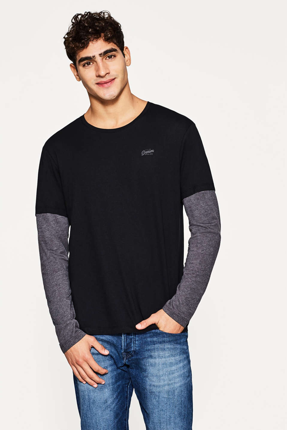 edc - Mock layer long sleeve jersey top