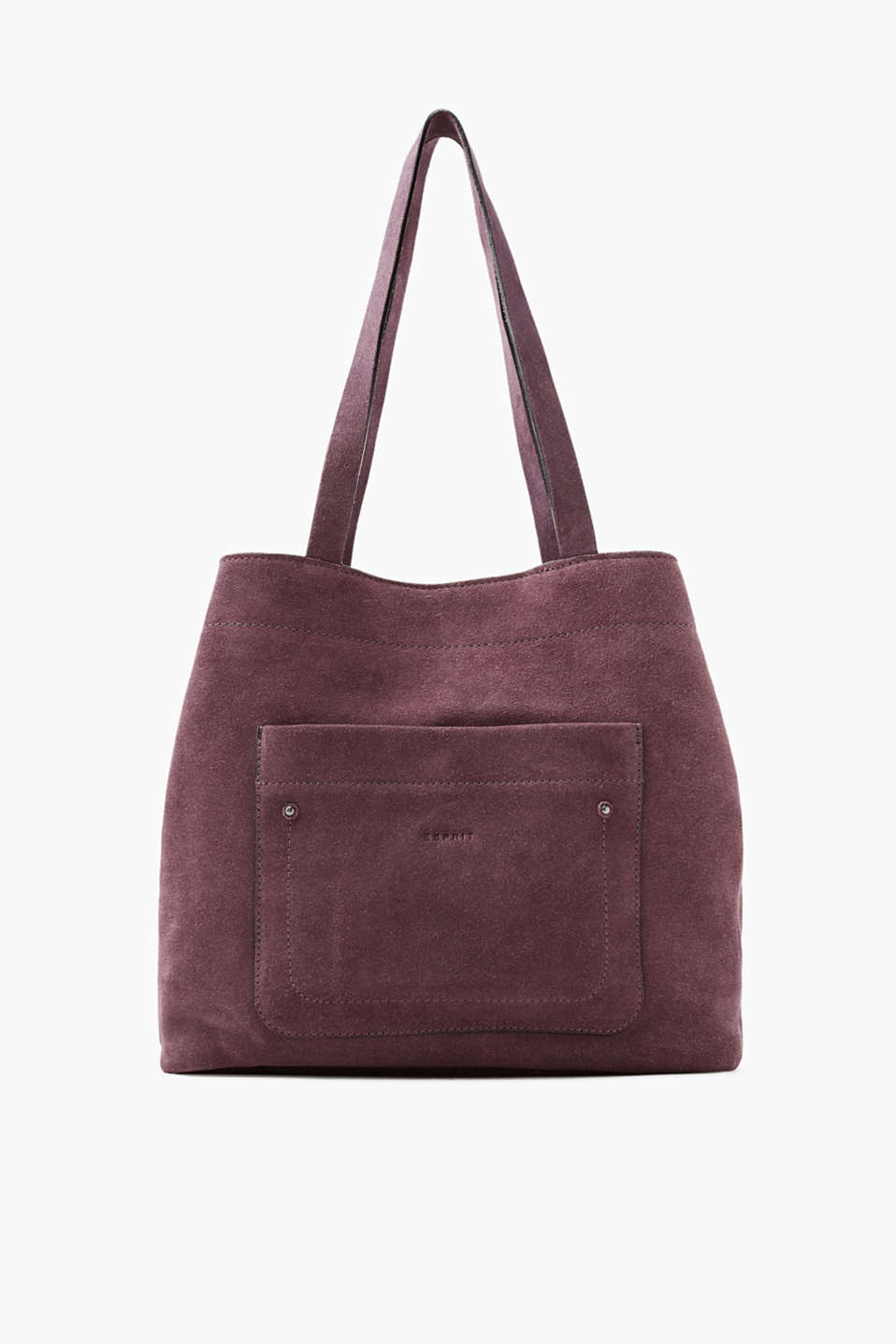 Timeless and wonderfully spacious shopper in sporty suede with one front pocket and two shoulder straps!