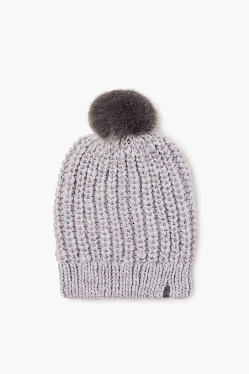 Esprit - Wool blend beanie + faux fur bobble