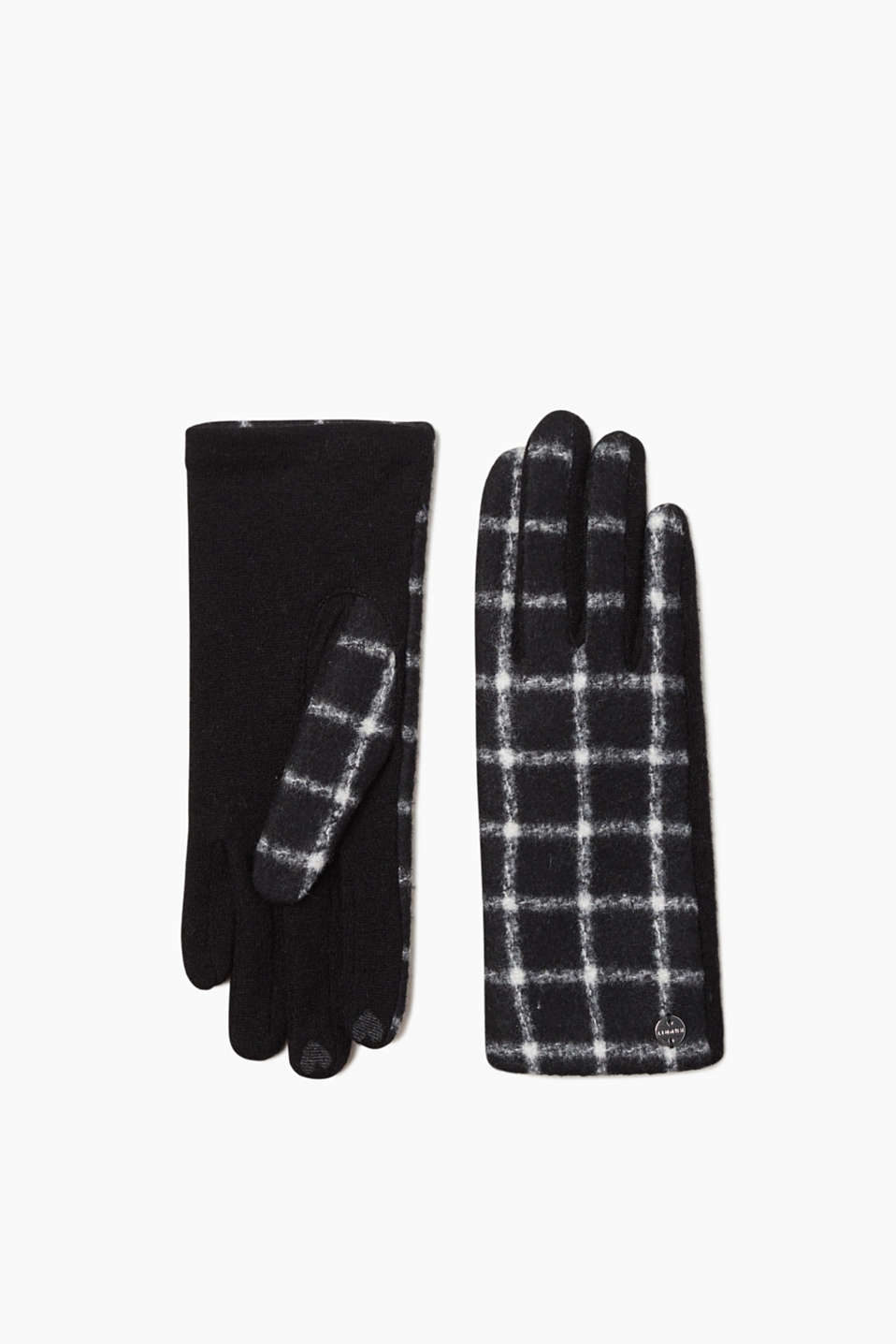 Esprit - Check gloves in fine blended wool