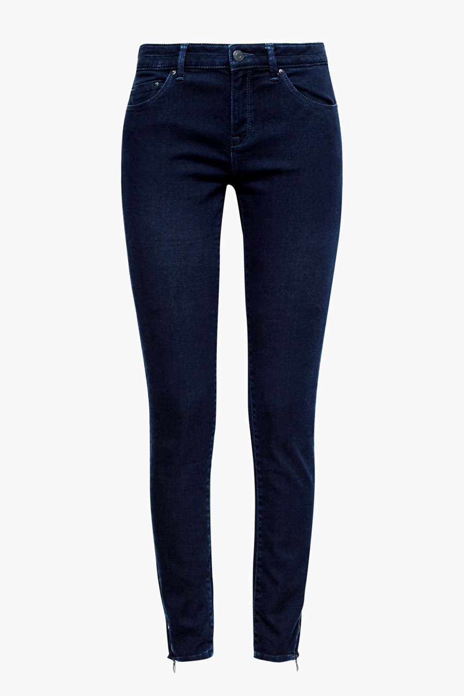 So soft you can hardly feel it: these skinny jeans with a high waistband and hem zips at the sides!