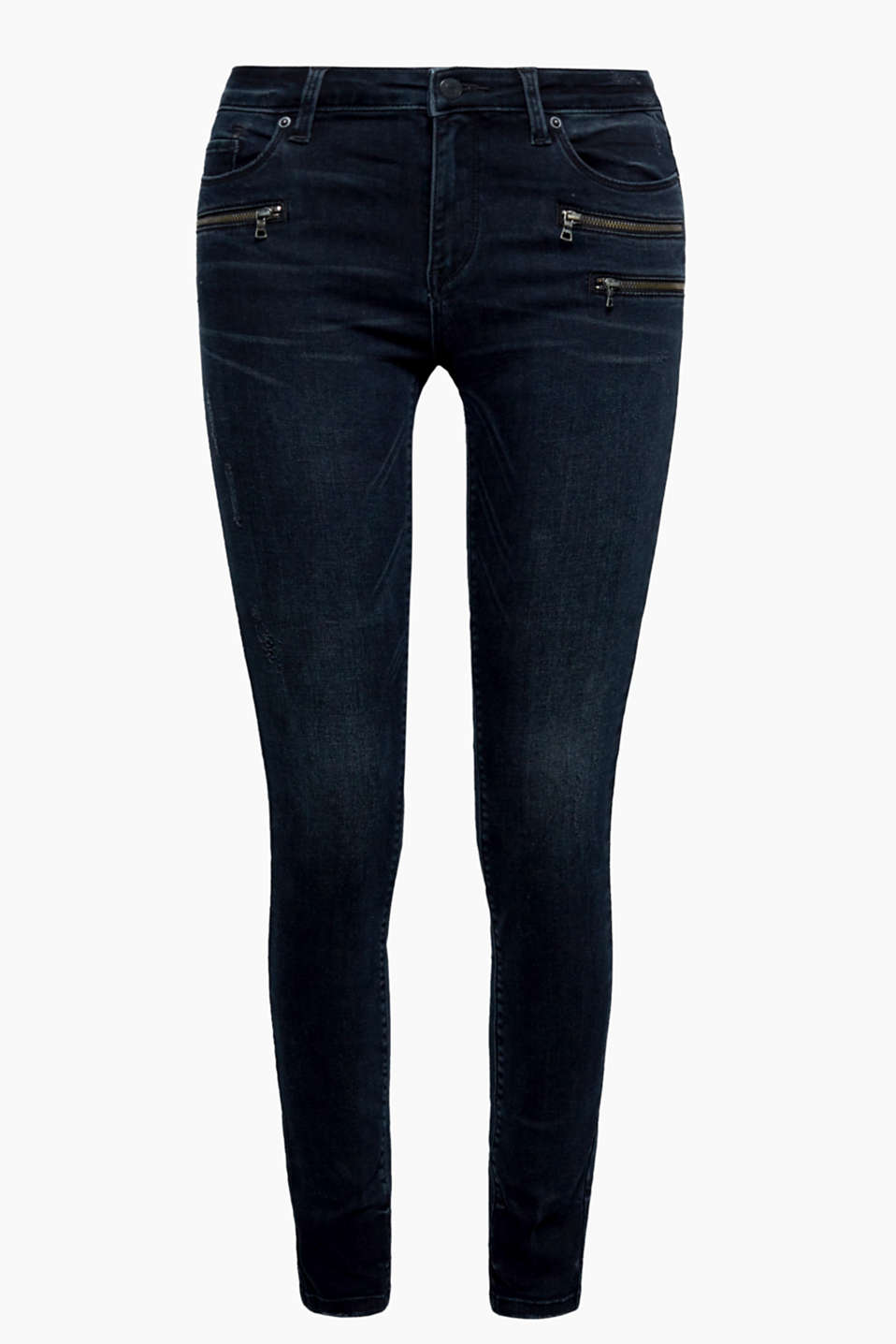 These jeans with heavy vintage effects, decorative zips and a high percentage of stretch guarantee a very cool look!