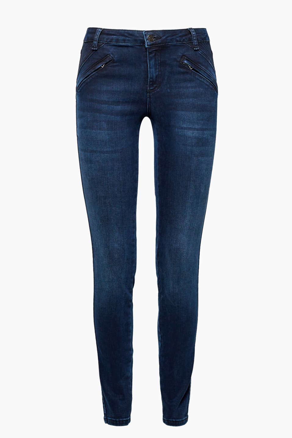 They create a sensational silhouette: stretch jeans with distinctive zip pockets and shaping effects.