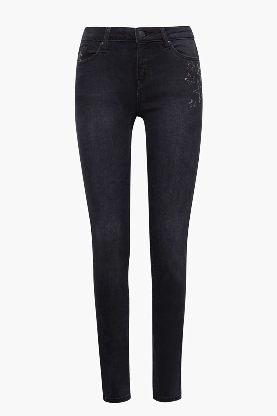 Slim cut, cool star studs: these black jeans with added stretch for comfort will become your favourite jeans!