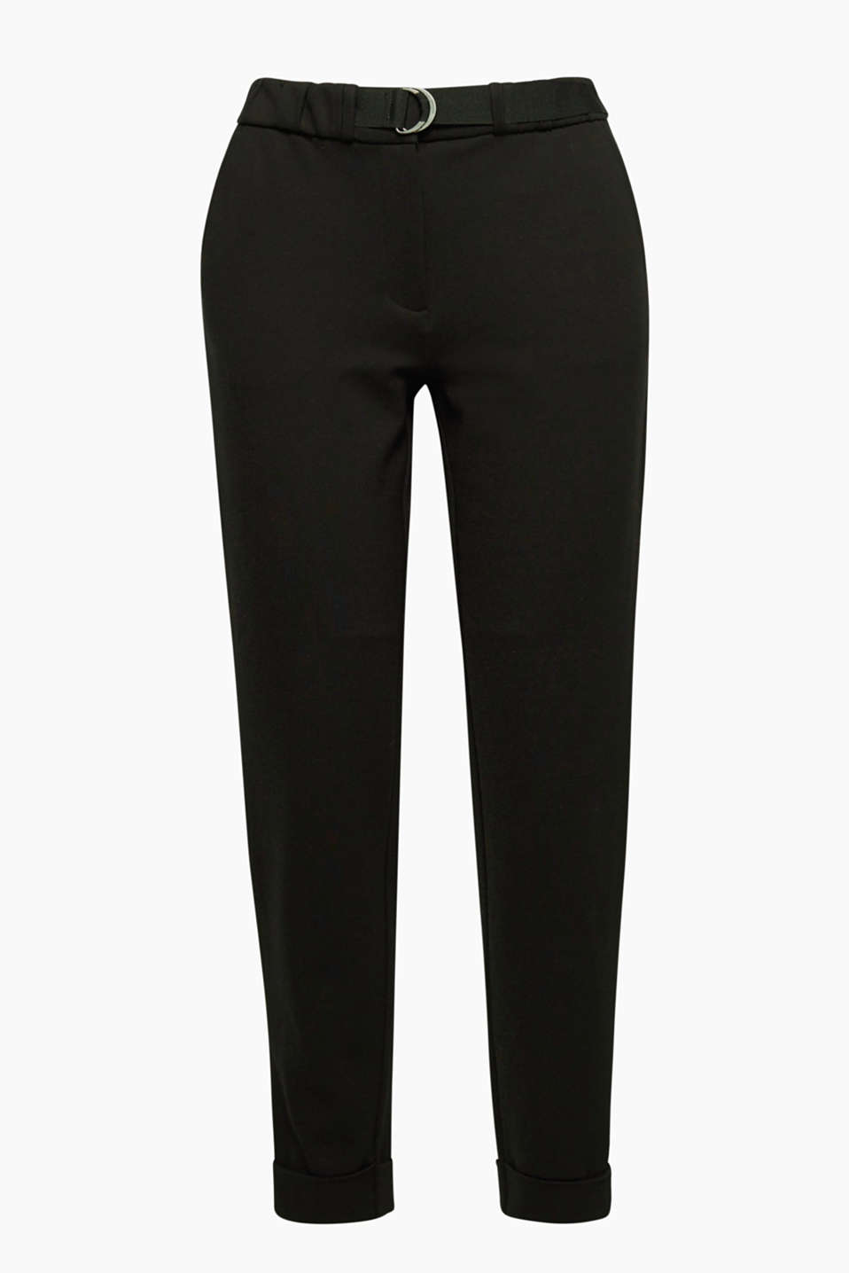 Extremely comfortable yet classy: These soft tracksuit bottoms feature a fixed belt and turn-up hems.