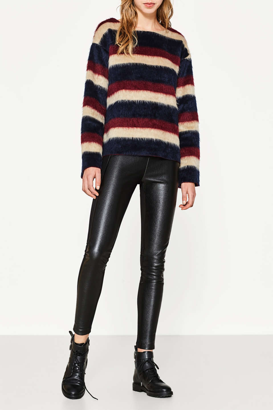 Esprit - Leggings mit Leder-Look-Front