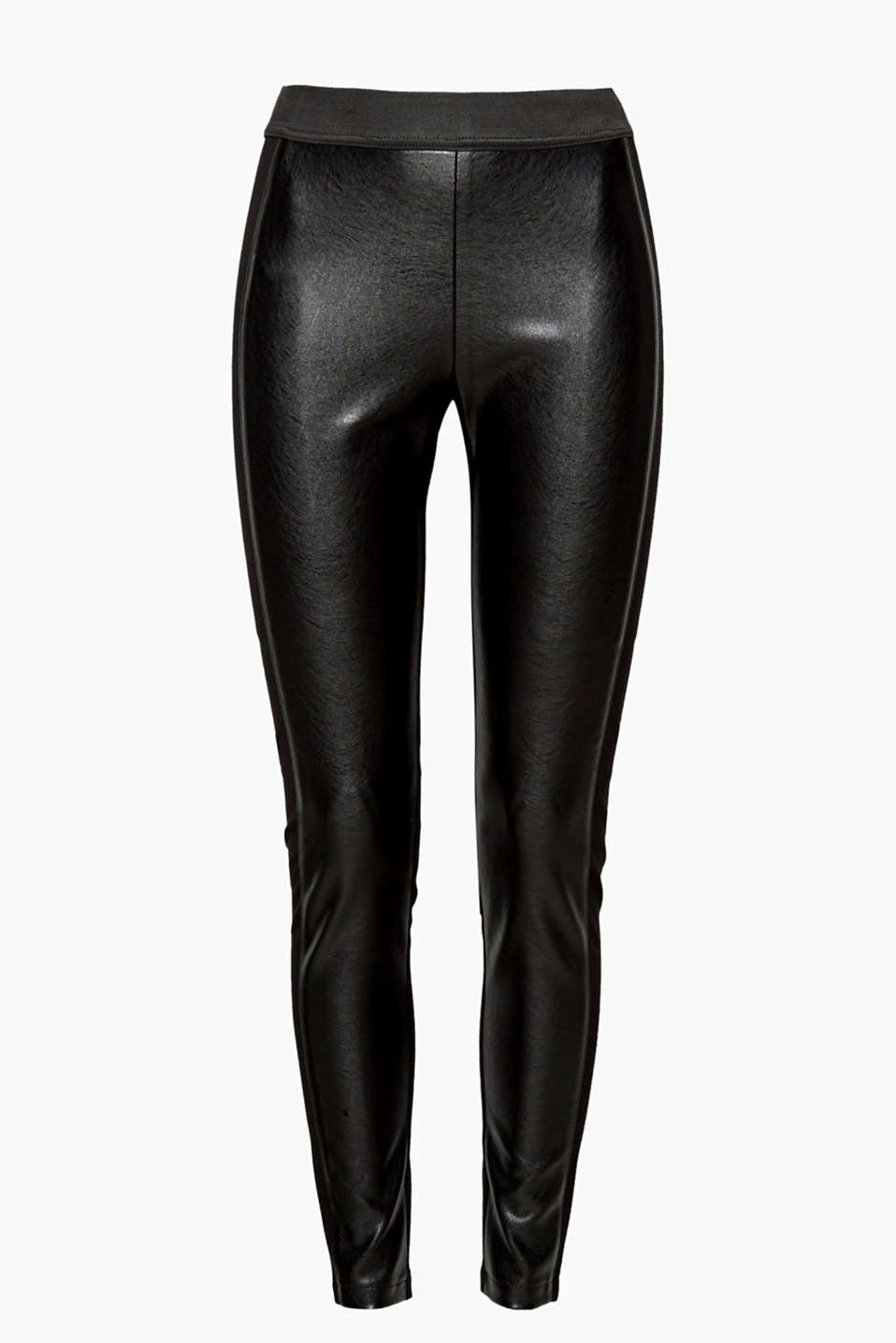 Has a skin-fit sit and gets a cool faux leather look on the front: these stylish leggings made of a material mix!