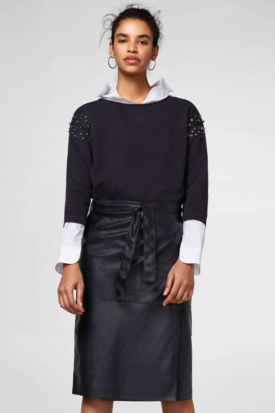 Esprit - Wrap-over effect imitation leather skirt