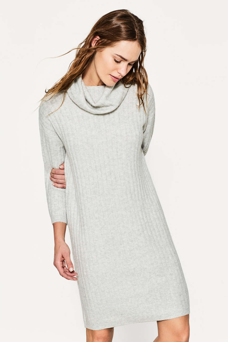 Esprit - Polo neck dress in compact yarn