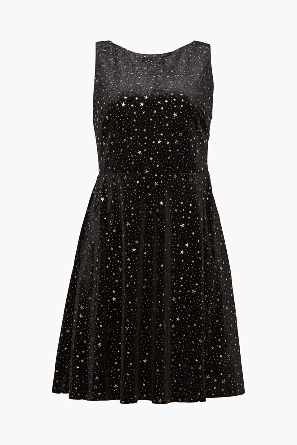 We love velvet – as well as this dress with a star print, added stretch for comfort and an exciting back neckline!