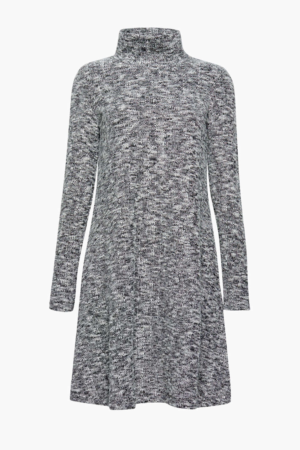 This thicker jersey dress in a choppy bouclé look has a trendy melange finish and is wonderfully comfortable to wear!