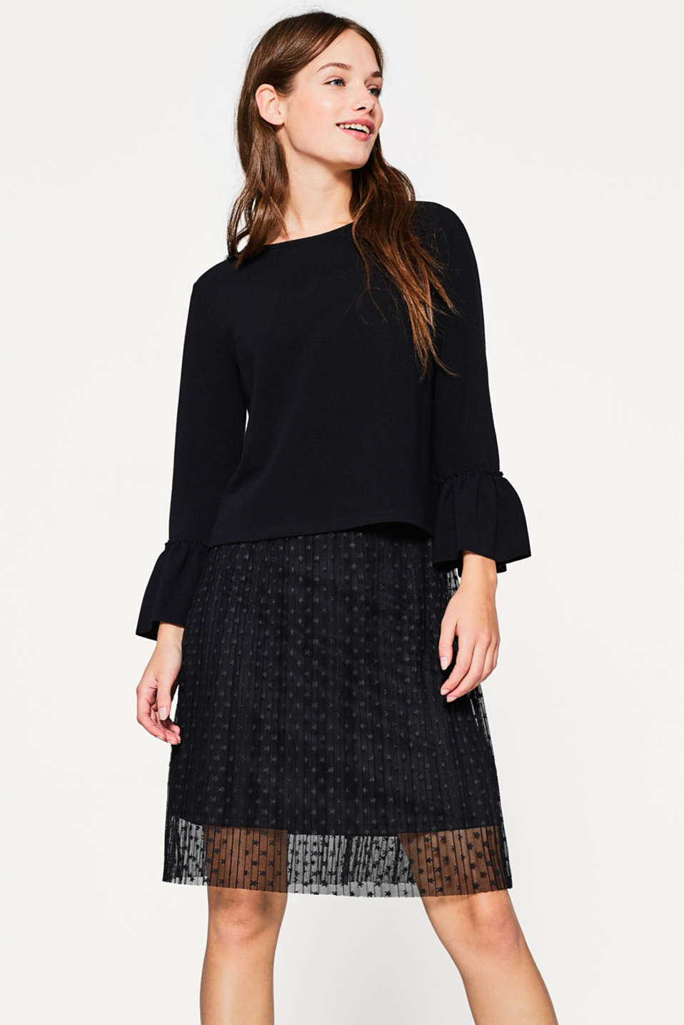 Esprit - Two-in-one dress with tulle skirt