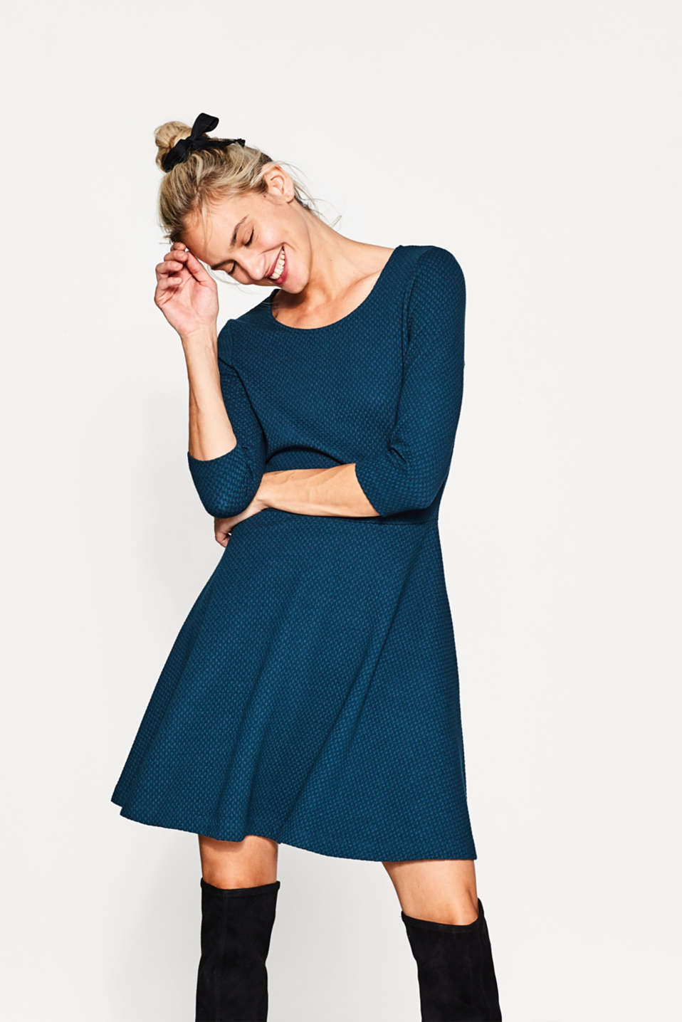 Esprit - Textured jersey dress with stretch