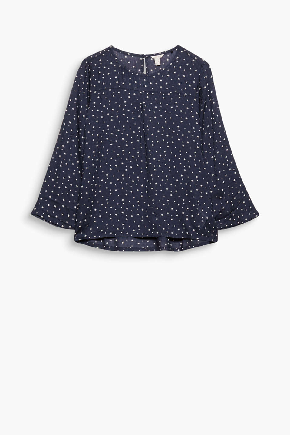 This dainty blouse with a fine texture and star print feels like nothing against your skin!