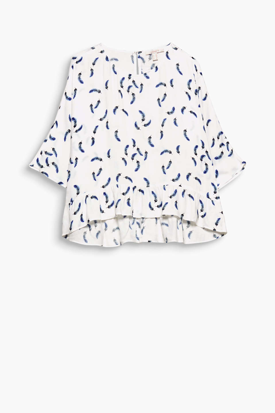 Lightweight fabric, a casual width and a pretty flounce give this blouse with mini prints its brand new style!