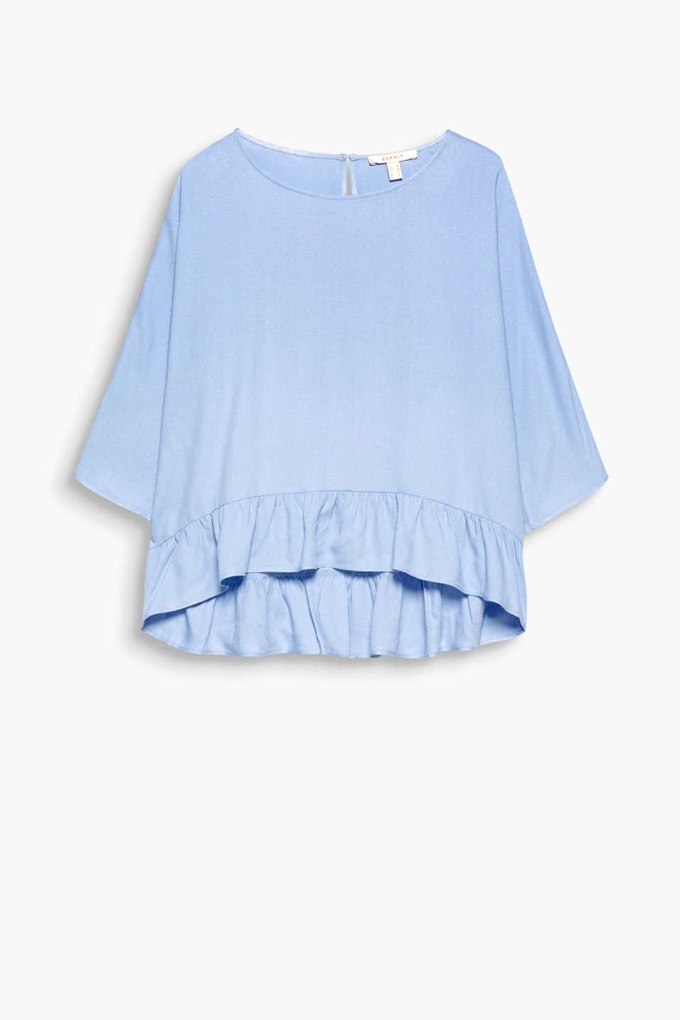 This blouse in a boy design with an attached flared, frilled hem comes in a fine, flowing look!