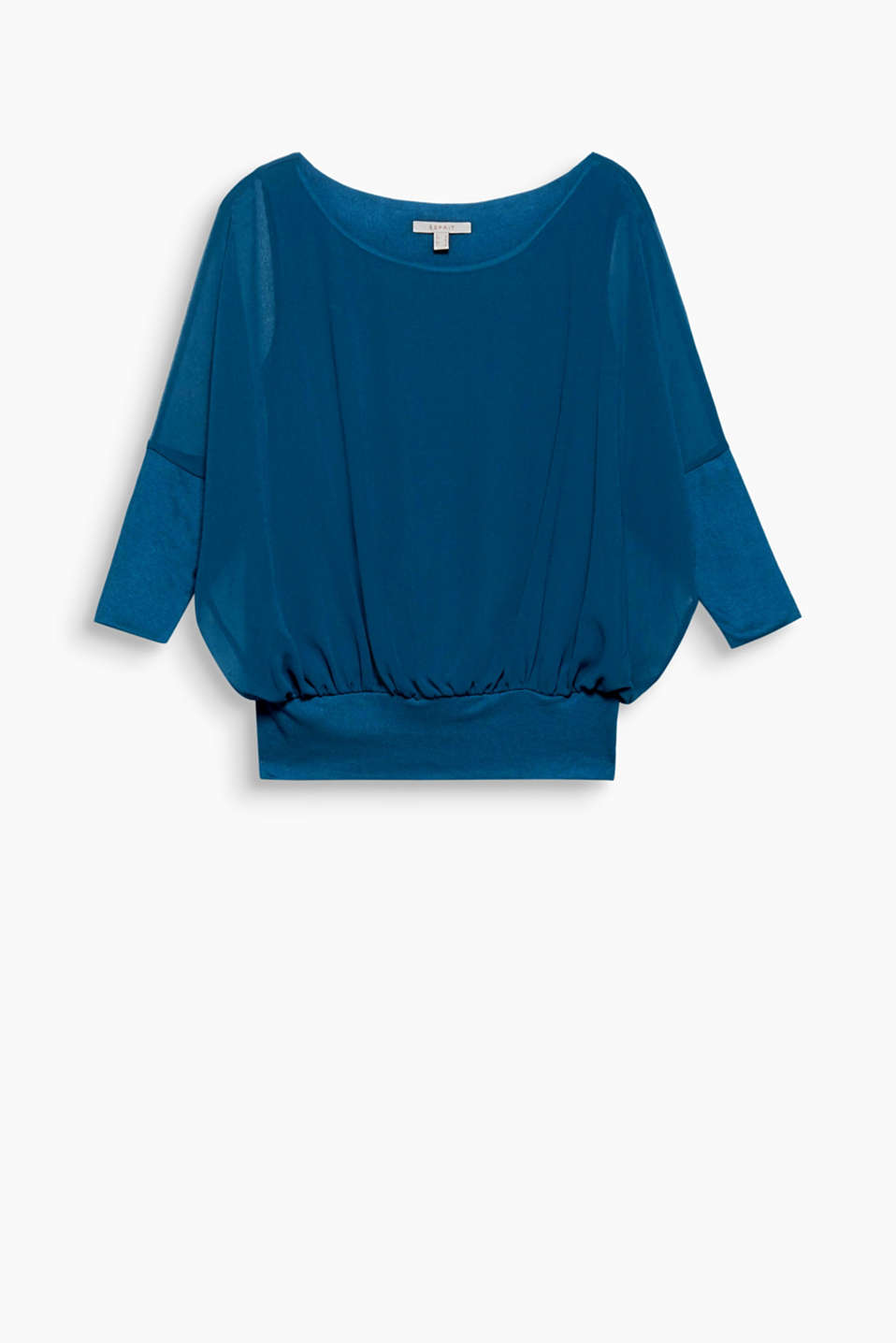 -Flowing, delicate and sheer, this lightweight chiffon blouse comes in a relaxed fit with batwing sleeves.