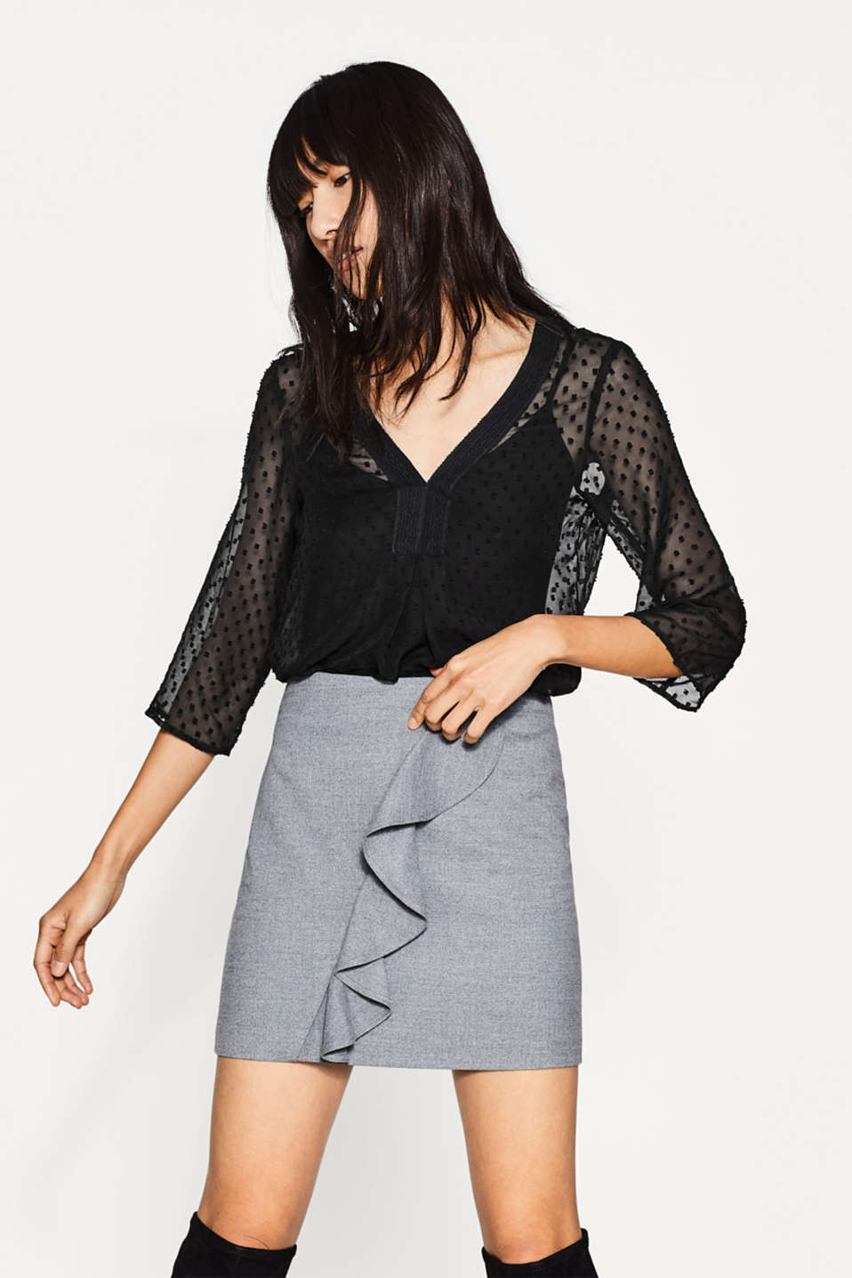 Esprit - Sheer 2-in-1 blouse with a strappy top